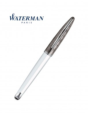 WATERMAN Carene Contemporary White and Gunmetal Rollerball Pen